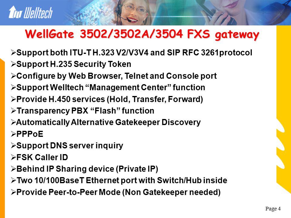 "Page 3  Support ITU-T H.323 V2/V3/V4  Support H.235 Security Token  Support Welltech ""Management Center"" function  PPPoE  Behind IP Sharing devic"