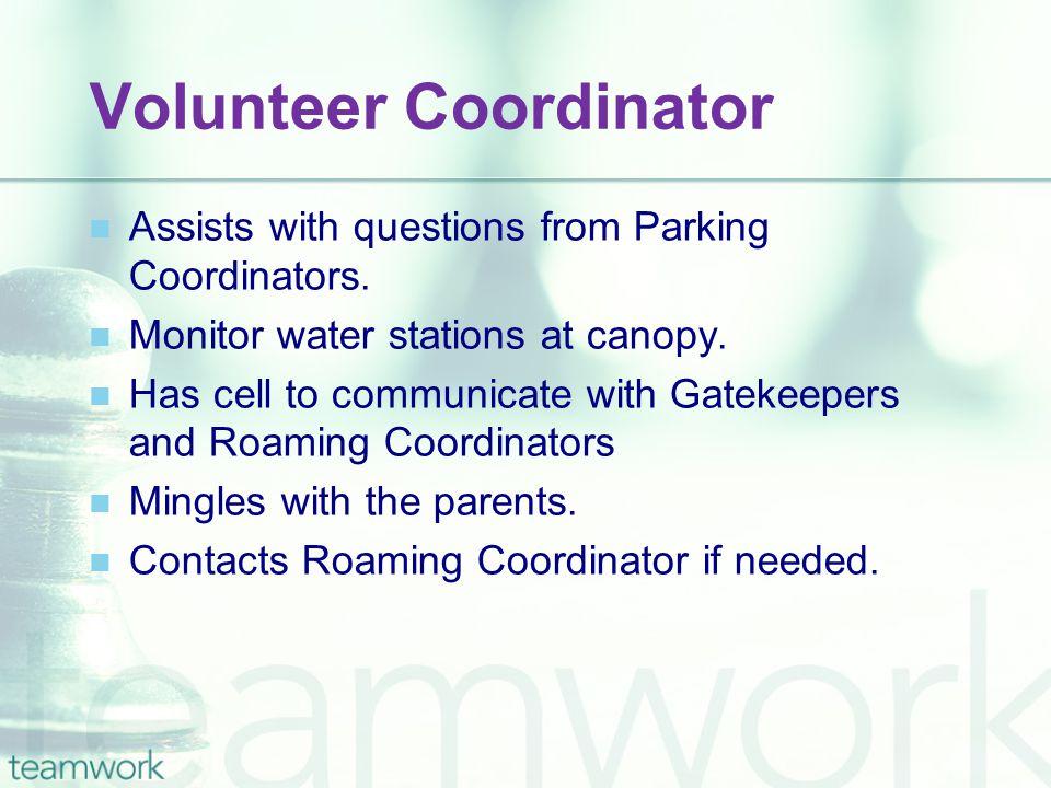 Volunteer Coordinator Assists with questions from Parking Coordinators.