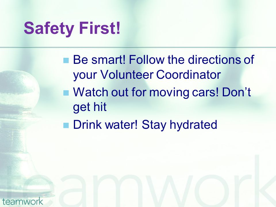Safety First! Be smart! Follow the directions of your Volunteer Coordinator Watch out for moving cars! Don't get hit Drink water! Stay hydrated