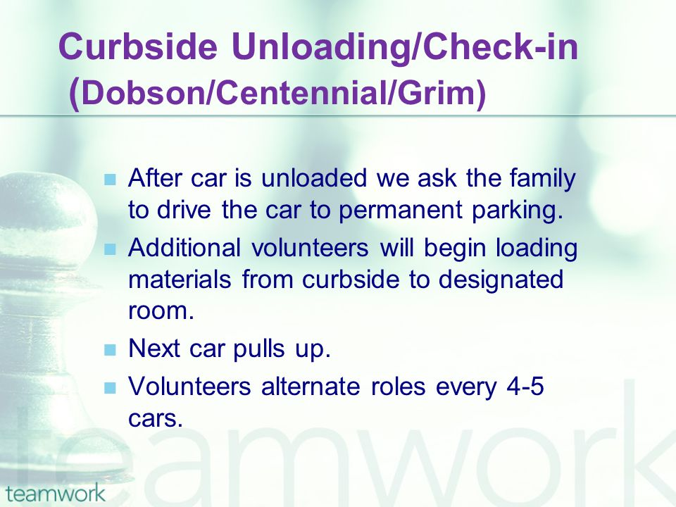 Curbside Unloading/Check-in ( Dobson/Centennial/Grim) After car is unloaded we ask the family to drive the car to permanent parking. Additional volunt