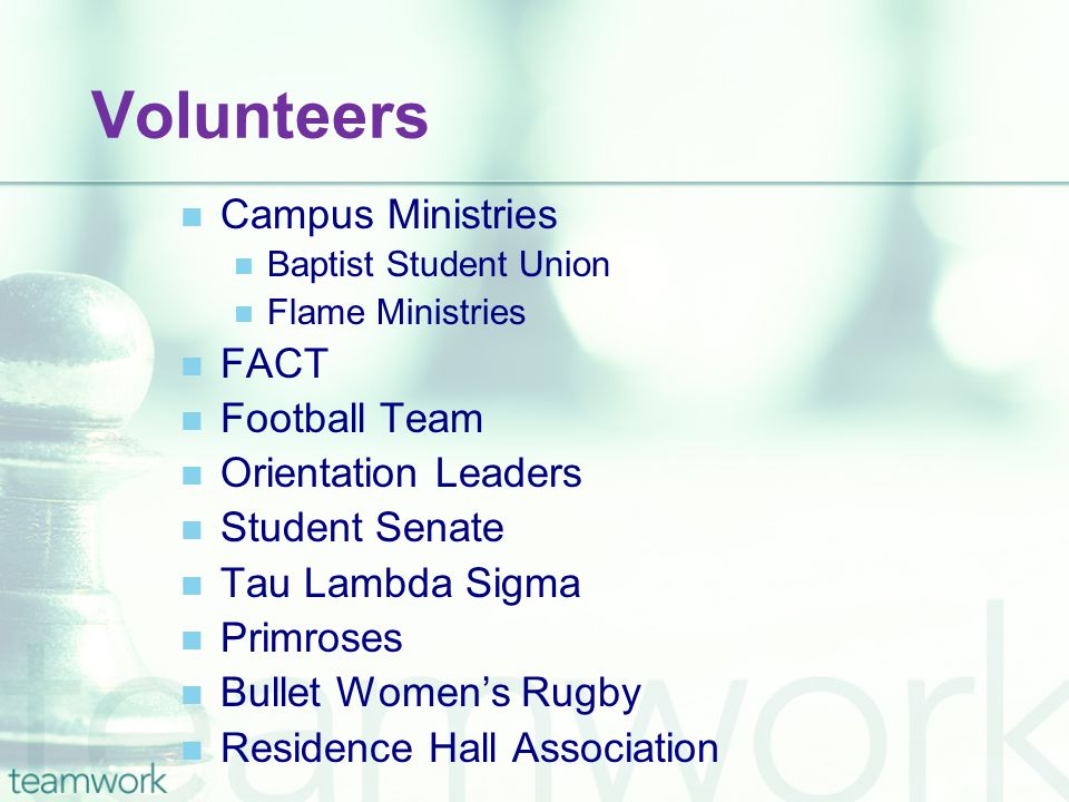 Volunteers Campus Ministries Baptist Student Union Flame Ministries FACT Football Team Orientation Leaders Student Senate Tau Lambda Sigma Primroses Bullet Women's Rugby Residence Hall Association