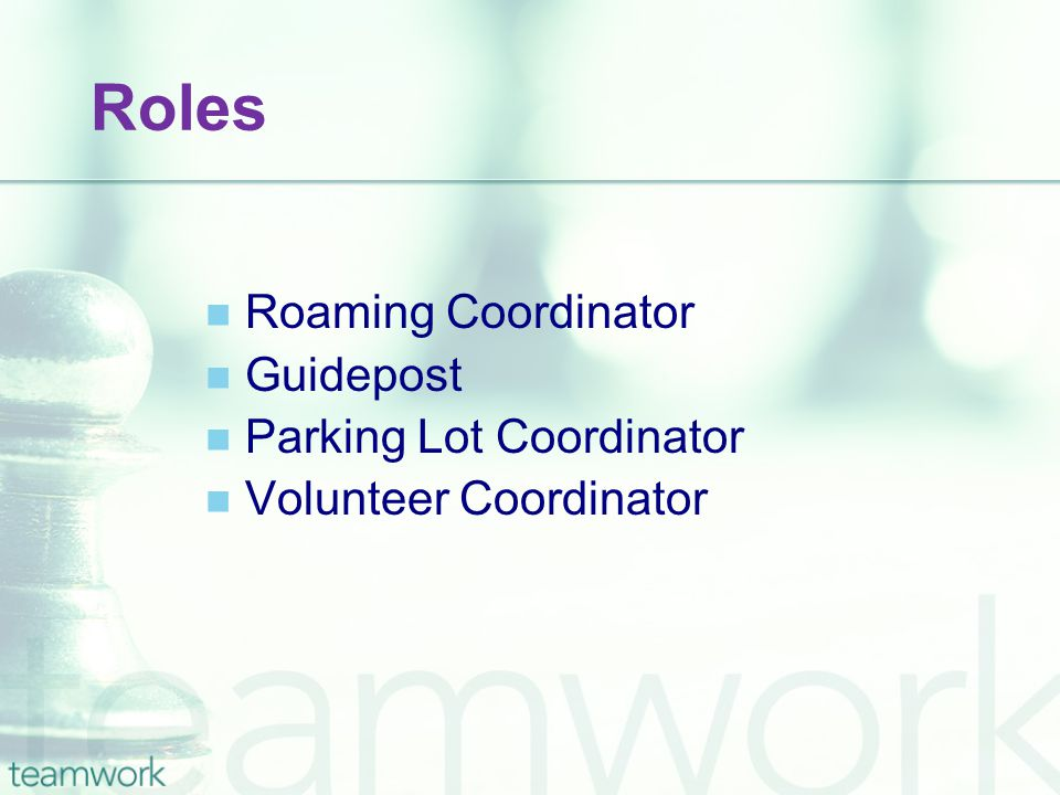 Roles Roaming Coordinator Guidepost Parking Lot Coordinator Volunteer Coordinator