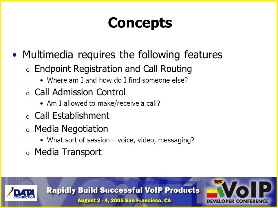 Concepts Multimedia requires the following features o Endpoint Registration and Call Routing Where am I and how do I find someone else? o Call Admissi