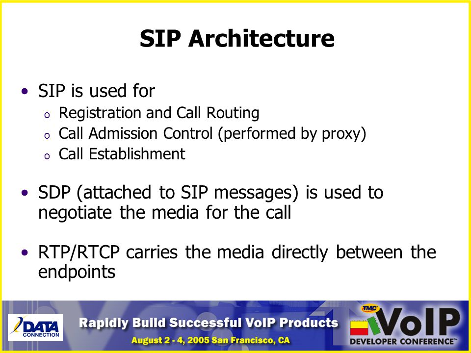SIP Architecture SIP is used for o Registration and Call Routing o Call Admission Control (performed by proxy) o Call Establishment SDP (attached to S