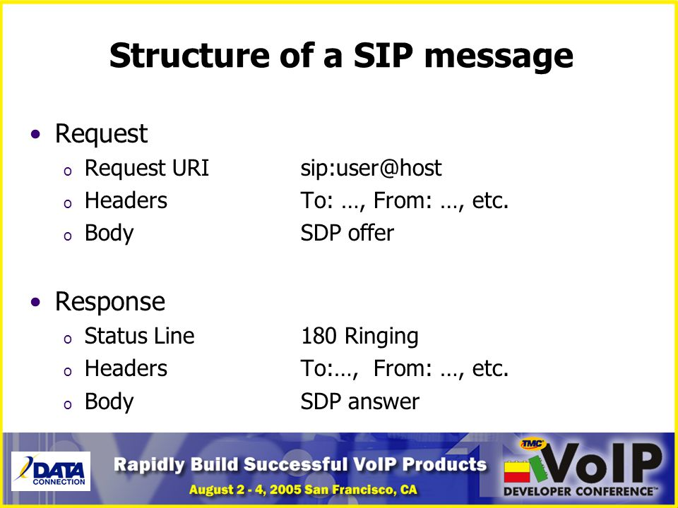 Structure of a SIP message Request o Request URIsip:user@host o HeadersTo: …, From: …, etc. o BodySDP offer Response o Status Line180 Ringing o Header