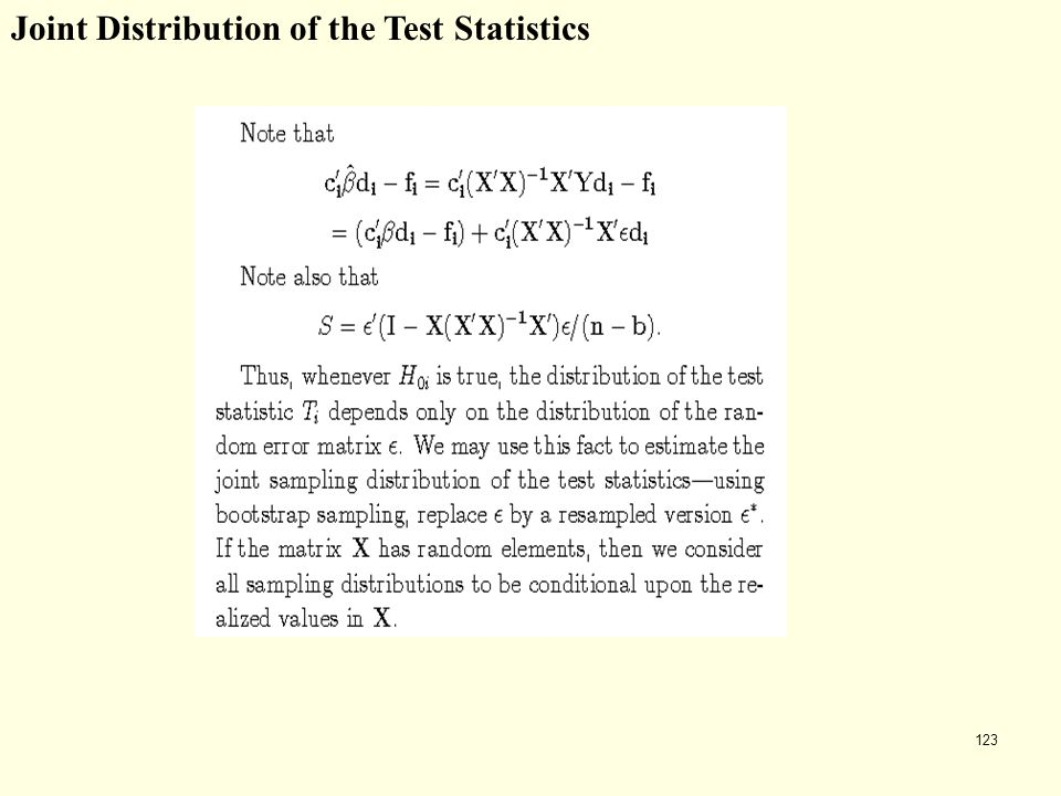 123 Joint Distribution of the Test Statistics