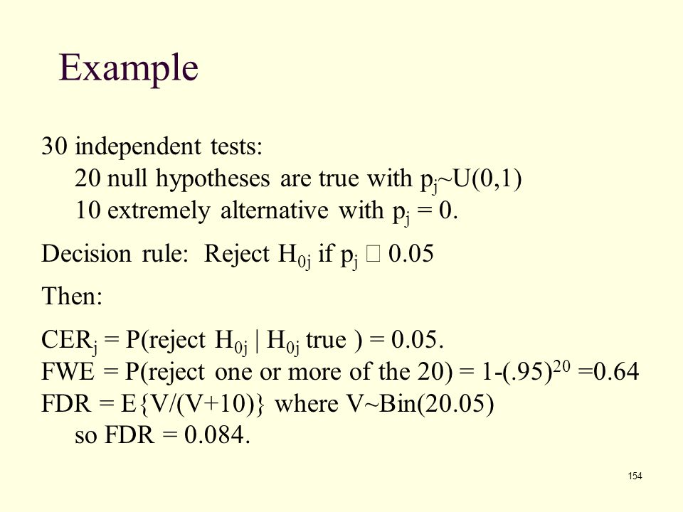 154 Example 30 independent tests: 20 null hypotheses are true with p j ~U(0,1) 10 extremely alternative with p j = 0. Decision rule: Reject H 0j if p