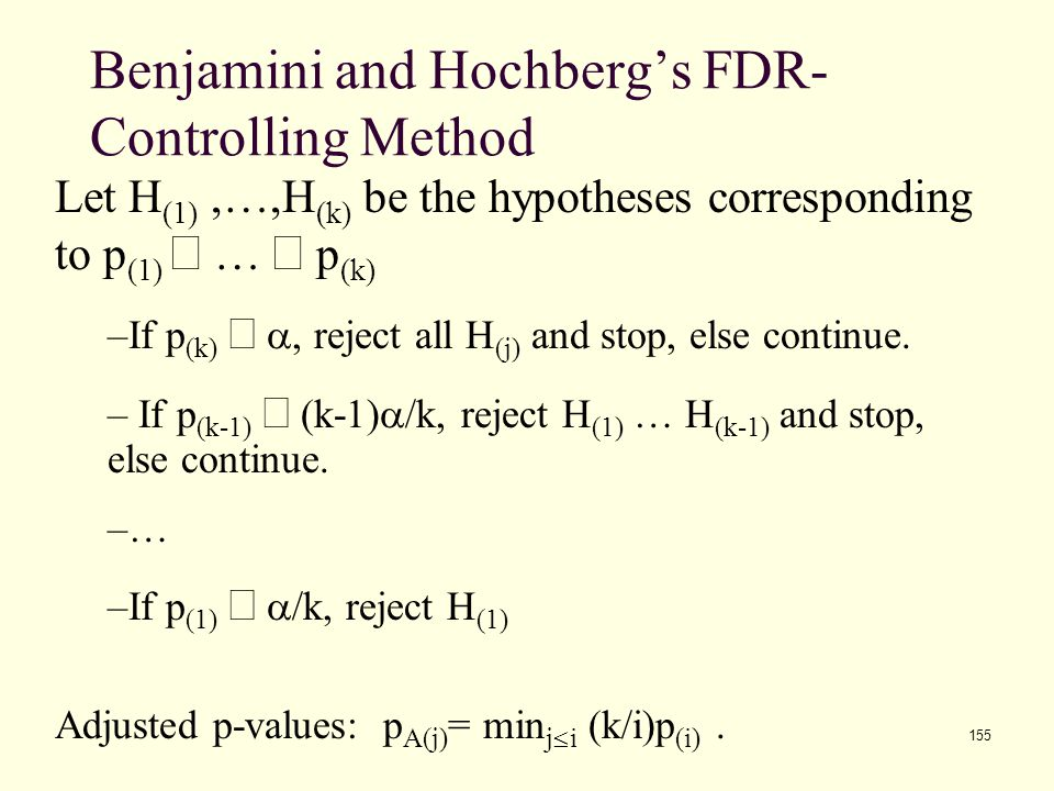 155 Benjamini and Hochberg's FDR- Controlling Method Let H (1),…,H (k) be the hypotheses corresponding to p (1)  …  p (k) –If p (k)  , reject all