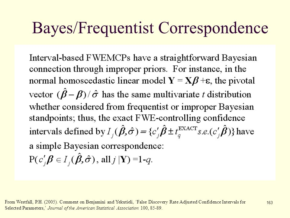163 Bayes/Frequentist Correspondence From Westfall, P.H. (2005). Comment on Benjamini and Yekutieli, 'False Discovery Rate Adjusted Confidence Interva