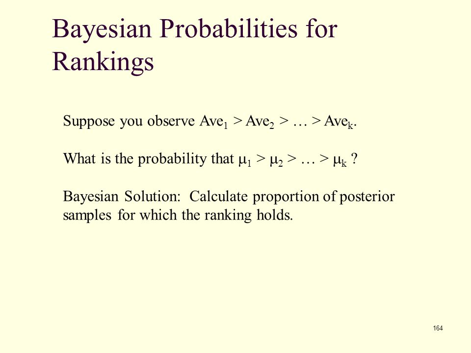 164 Bayesian Probabilities for Rankings Suppose you observe Ave 1 > Ave 2 > … > Ave k. What is the probability that m 1 > m 2 > … > m k ? Bayesian Sol