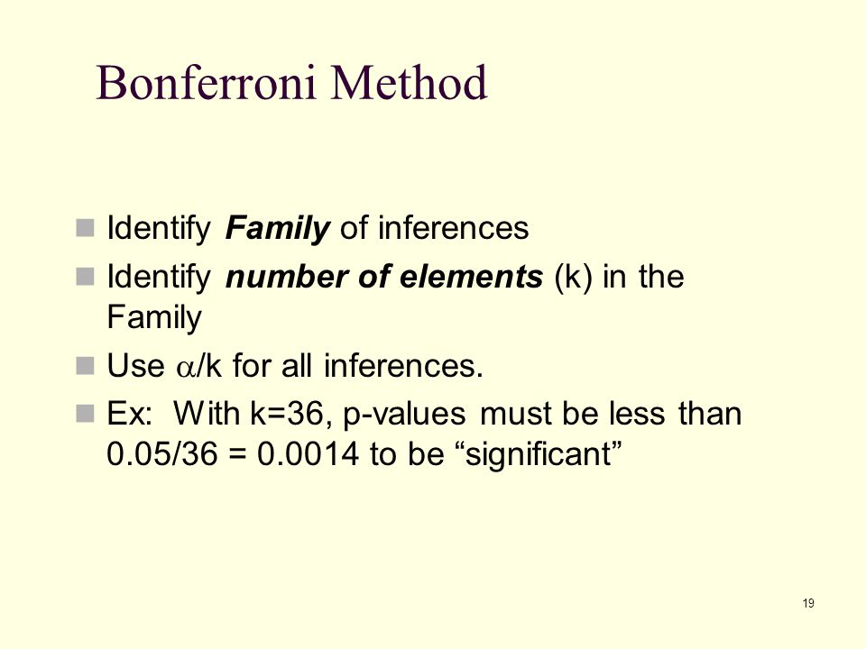 19 Bonferroni Method Identify Family of inferences Identify number of elements (k) in the Family Use  /k for all inferences. Ex: With k=36, p-values