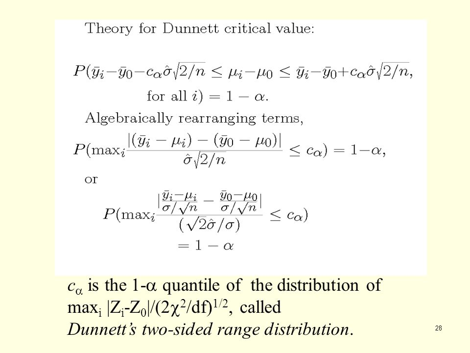 28 c  is the 1-  quantile of the distribution of max i |Z i -Z 0 |/(2  2 /df) 1/2, called Dunnett's two-sided range distribution.