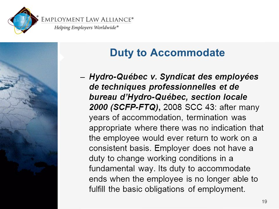 Duty to Accommodate –Hydro-Québec v.