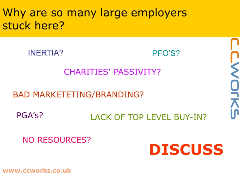 www.ccworks.co.uk Why are so many large employers stuck here? DISCUSS INERTIA? PFO'S? CHARITIES' PASSIVITY? BAD MARKETETING/BRANDING? LACK OF TOP LEVE