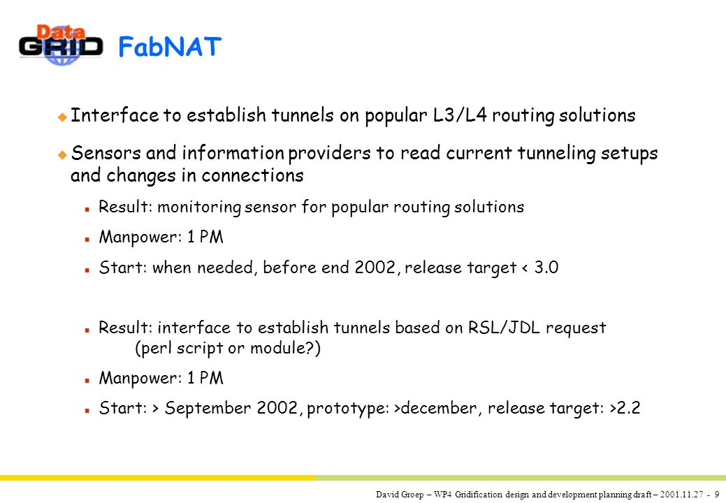 David Groep – WP4 Gridification design and development planning draft – 2001.11.27 - 9 FabNAT u Interface to establish tunnels on popular L3/L4 routing solutions u Sensors and information providers to read current tunneling setups and changes in connections n Result: monitoring sensor for popular routing solutions n Manpower: 1 PM n Start: when needed, before end 2002, release target < 3.0 n Result: interface to establish tunnels based on RSL/JDL request (perl script or module ) n Manpower: 1 PM n Start: > September 2002, prototype: >december, release target: >2.2