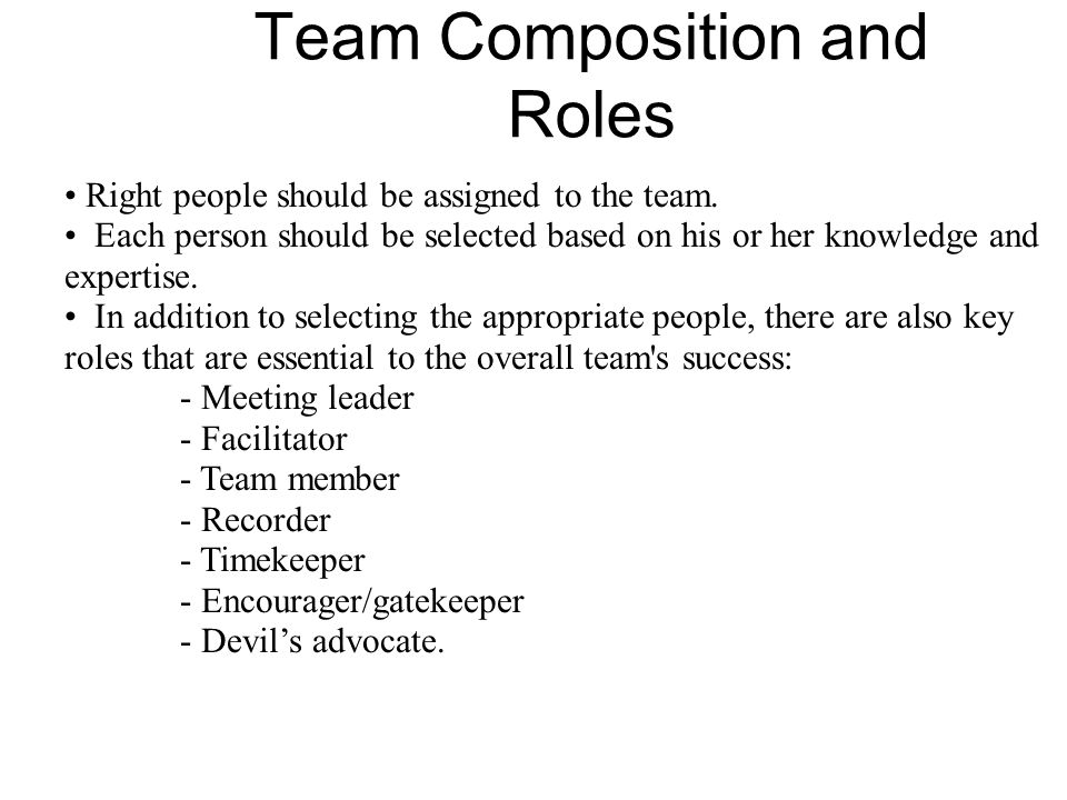 Team Composition and Roles Right people should be assigned to the team.