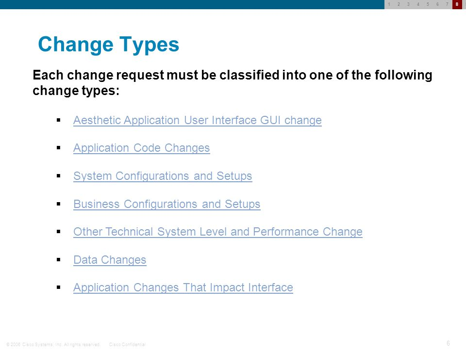 © 2006 Cisco Systems, Inc. All rights reserved.Cisco Confidential 5 123456789 Classifications of Change Types All change requests for information syst