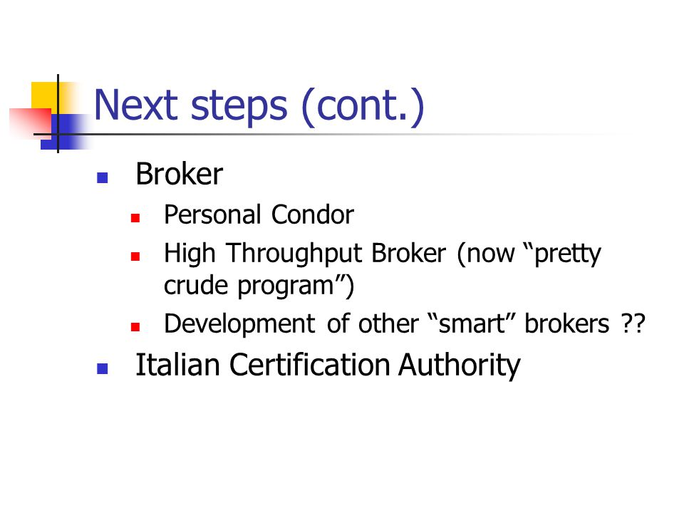 Next steps (cont.) Broker Personal Condor High Throughput Broker (now pretty crude program ) Development of other smart brokers .