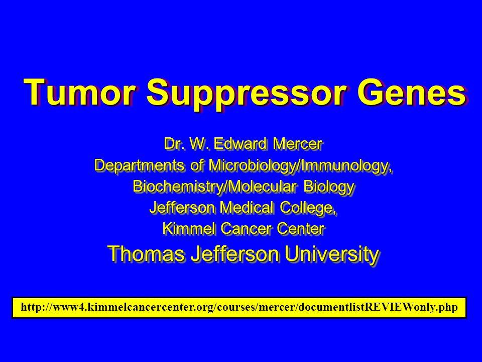 Tumor Suppressor Genes Dr. W.