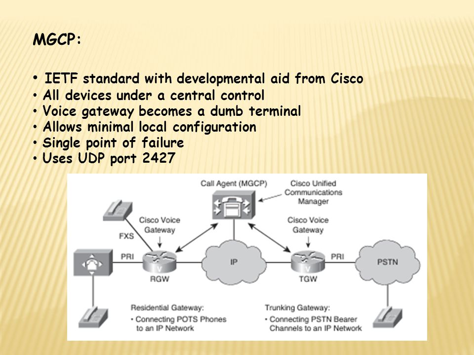 MGCP: IETF standard with developmental aid from Cisco All devices under a central control Voice gateway becomes a dumb terminal Allows minimal local configuration Single point of failure Uses UDP port 2427