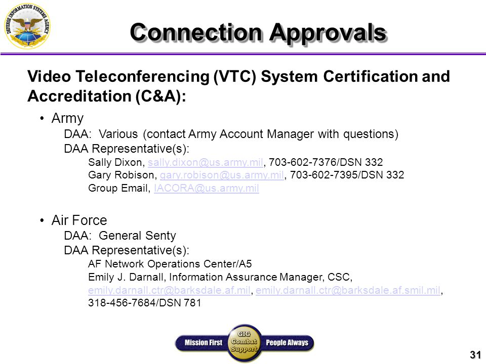 31 Connection Approvals Video Teleconferencing (VTC) System Certification and Accreditation (C&A): Army DAA: Various (contact Army Account Manager with questions) DAA Representative(s): Sally Dixon, sally.dixon@us.army.mil, 703-602-7376/DSN 332sally.dixon@us.army.mil Gary Robison, gary.robison@us.army.mil, 703-602-7395/DSN 332gary.robison@us.army.mil Group Email, IACORA@us.army.milIACORA@us.army.mil Air Force DAA: General Senty DAA Representative(s): AF Network Operations Center/A5 Emily J.