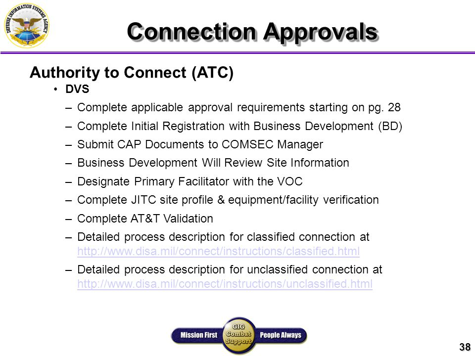 38 Connection Approvals Authority to Connect (ATC) DVS –Complete applicable approval requirements starting on pg.