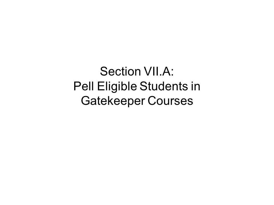 Section VII.A: Pell Eligible Students in Gatekeeper Courses