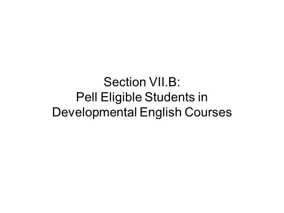 Section VII.B: Pell Eligible Students in Developmental English Courses