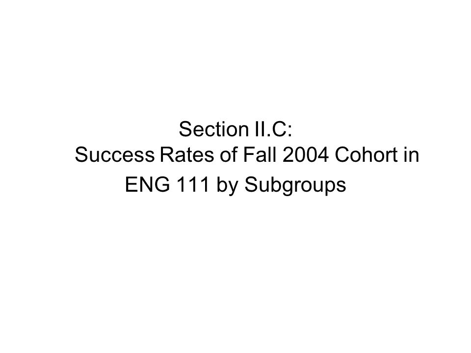 Section II.C: Success Rates of Fall 2004 Cohort in ENG 111 by Subgroups