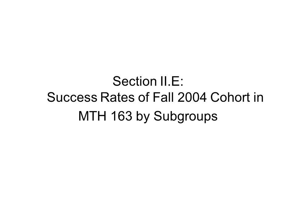 Section II.E: Success Rates of Fall 2004 Cohort in MTH 163 by Subgroups