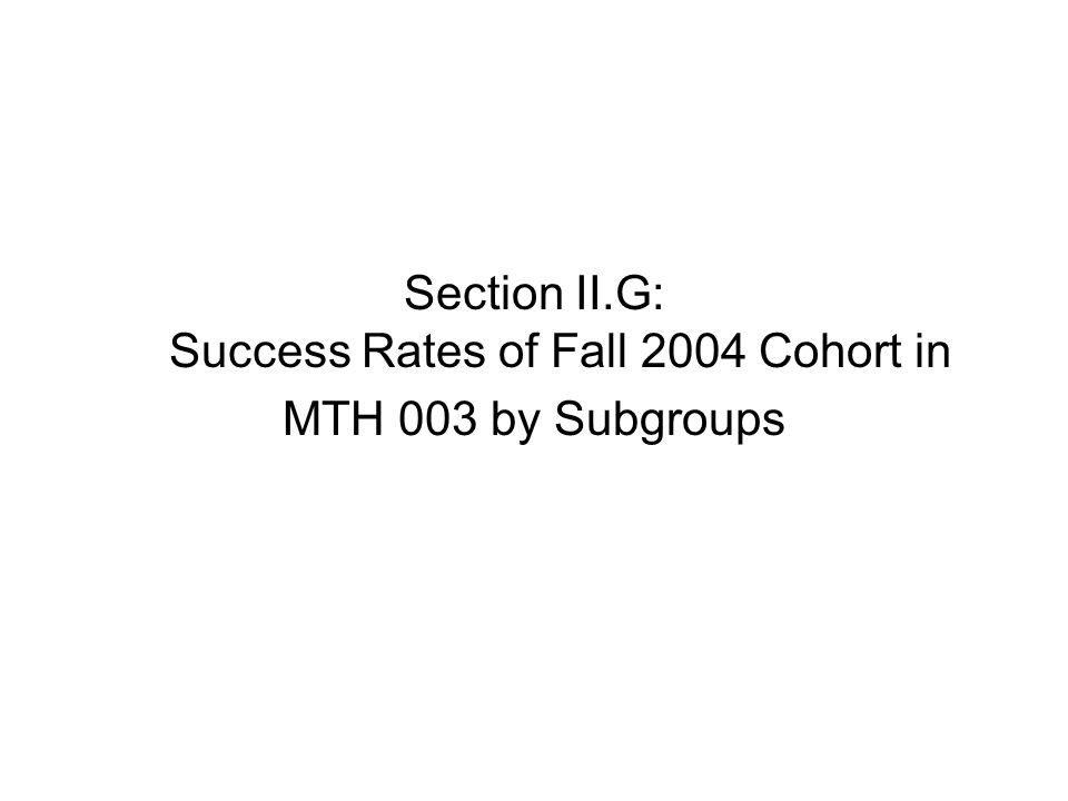 Section II.G: Success Rates of Fall 2004 Cohort in MTH 003 by Subgroups