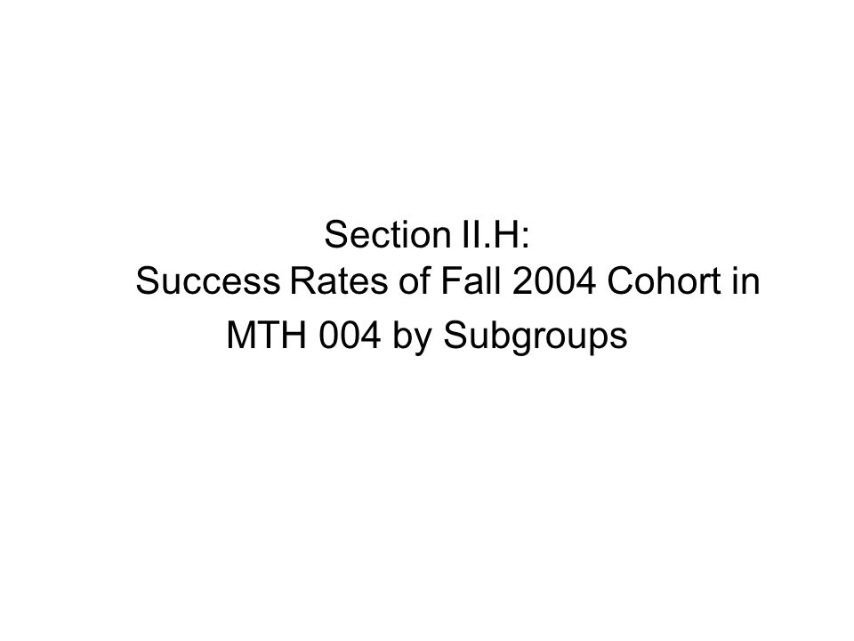 Section II.H: Success Rates of Fall 2004 Cohort in MTH 004 by Subgroups