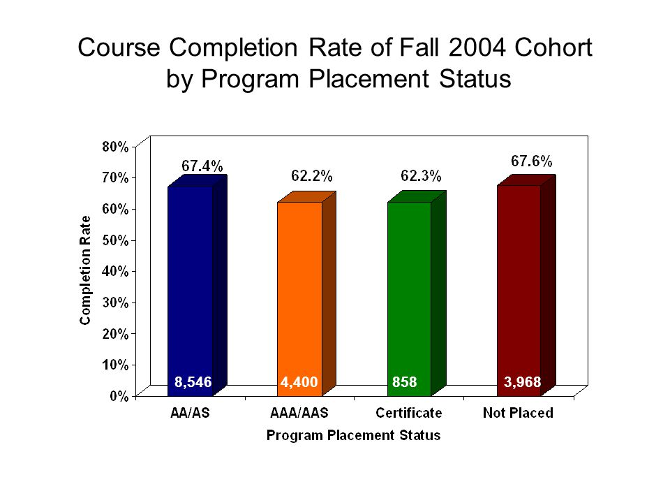 Course Completion Rate of Fall 2004 Cohort by Program Placement Status 8,5463,9684,400858