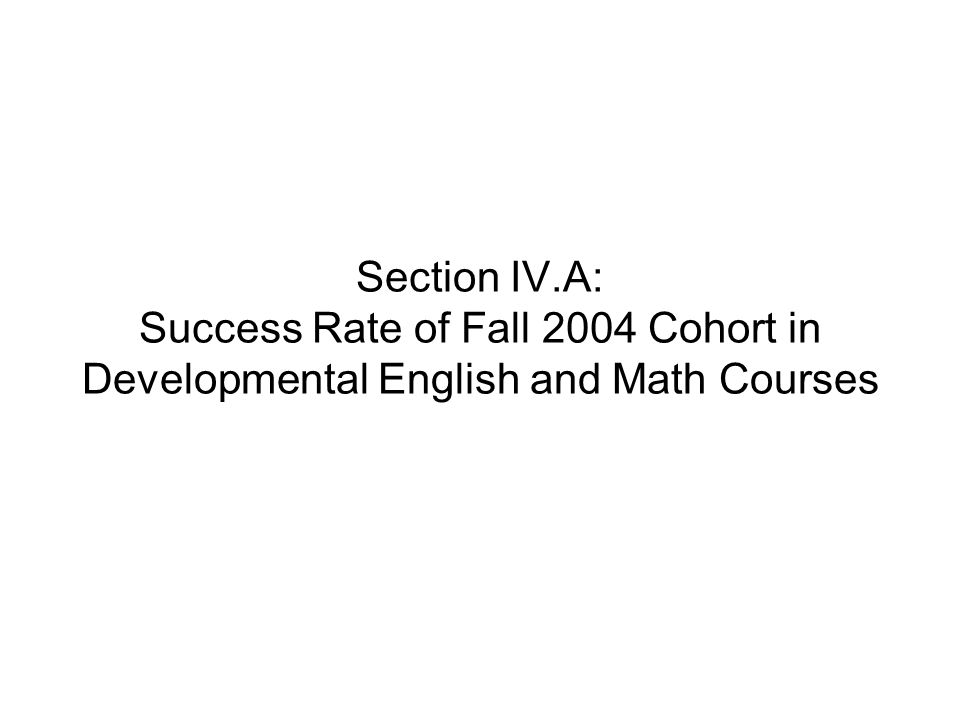 Section IV.A: Success Rate of Fall 2004 Cohort in Developmental English and Math Courses