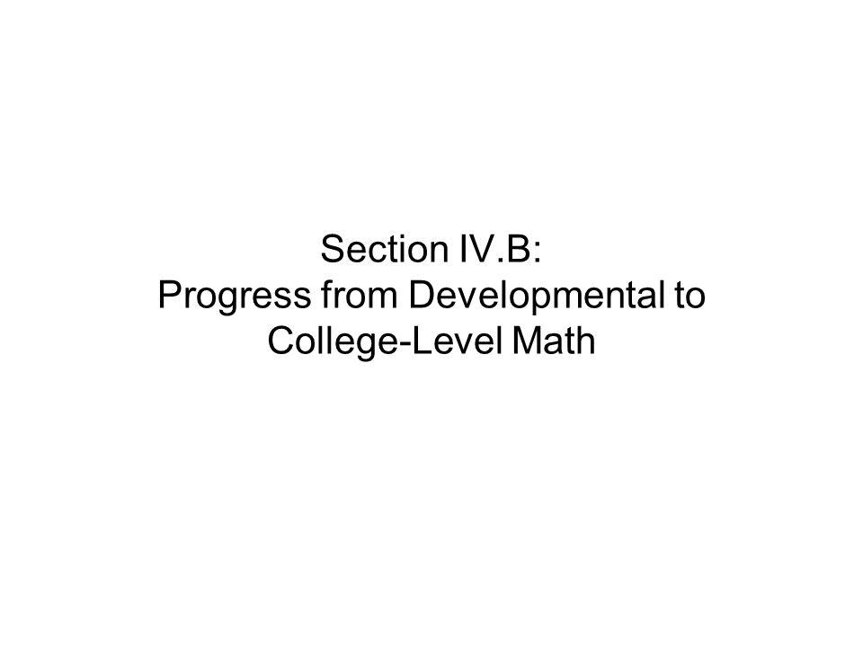 Section IV.B: Progress from Developmental to College-Level Math