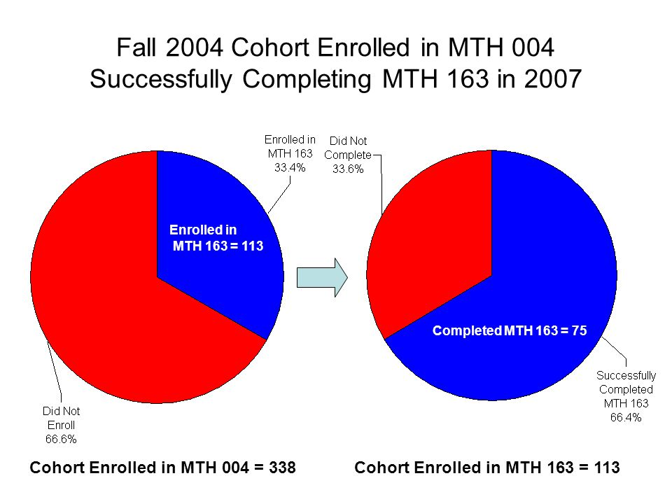 Fall 2004 Cohort Enrolled in MTH 004 Successfully Completing MTH 163 in 2007 Cohort Enrolled in MTH 163 = 113Cohort Enrolled in MTH 004 = 338 Completed MTH 163 = 75 Enrolled in MTH 163 = 113