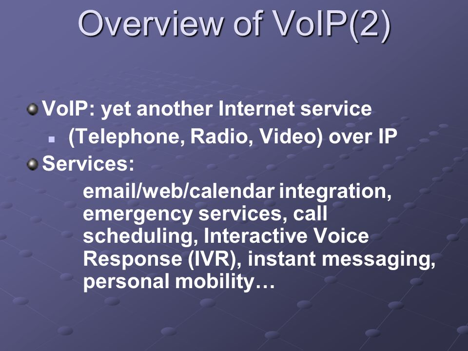 Conclusion VoIP just adds - more assets, more threat locations, more vulnerabilities – to the data network, because of new equipment, protocols, and processes on the data network To increase security and performance it's recommended to use VPNs to separate VoIP from data traffic.