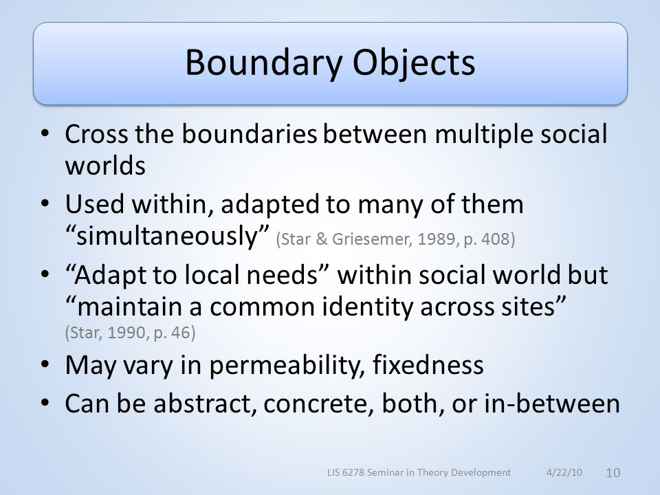 Boundary Objects Cross the boundaries between multiple social worlds Used within, adapted to many of them simultaneously (Star & Griesemer, 1989, p.