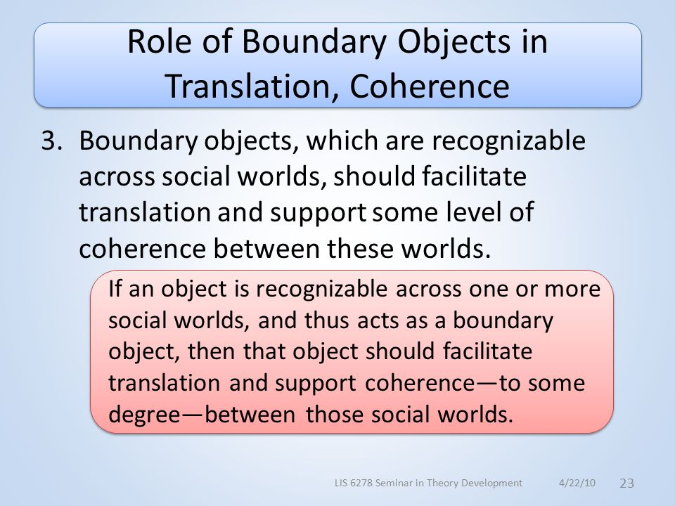 Role of Boundary Objects in Translation, Coherence 3.Boundary objects, which are recognizable across social worlds, should facilitate translation and support some level of coherence between these worlds.