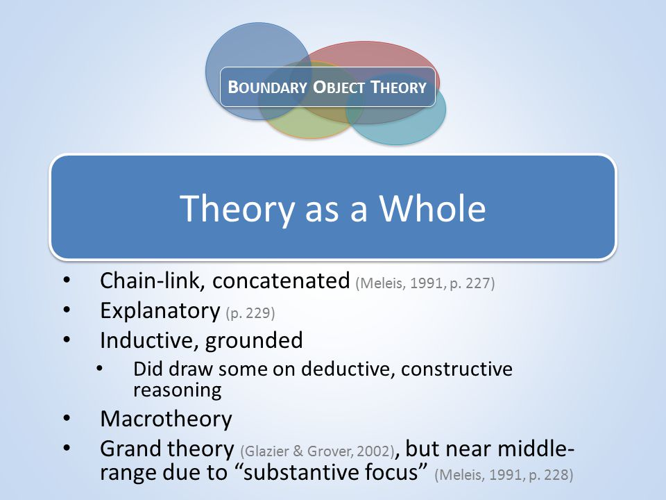 Theory as a Whole Chain-link, concatenated (Meleis, 1991, p.