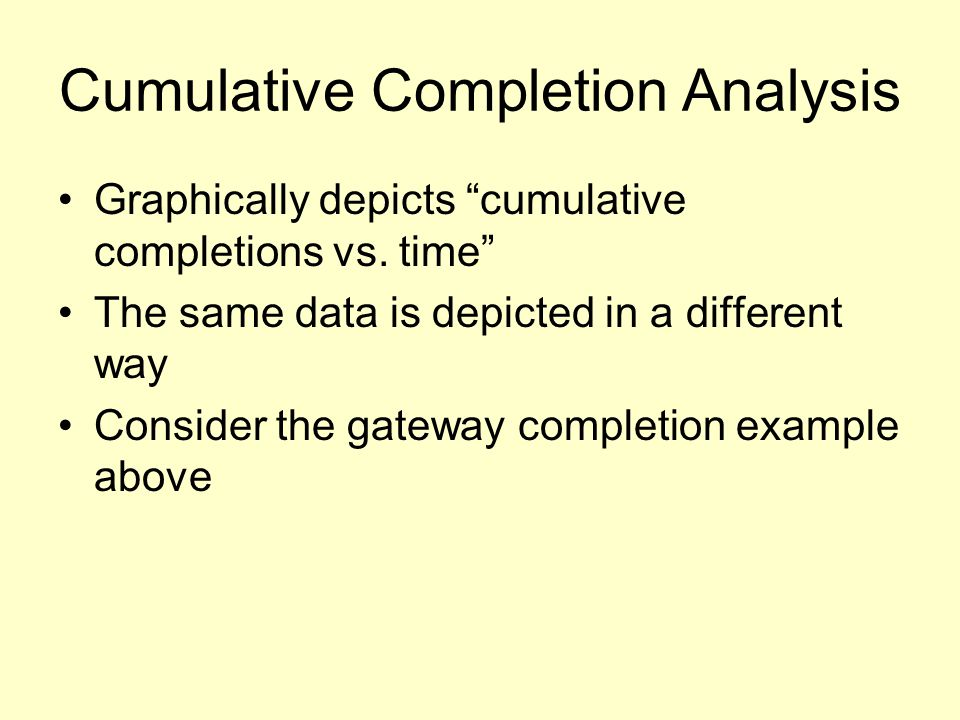 Cumulative Completion Analysis Graphically depicts cumulative completions vs.