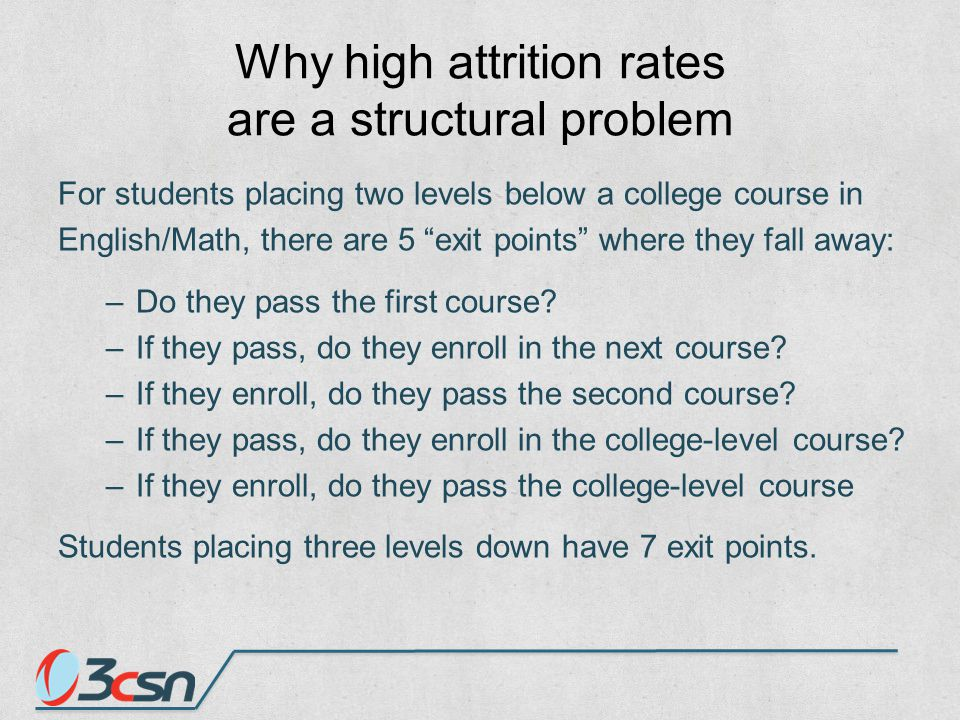 Why high attrition rates are a structural problem For students placing two levels below a college course in English/Math, there are 5 exit points where they fall away: –Do they pass the first course.