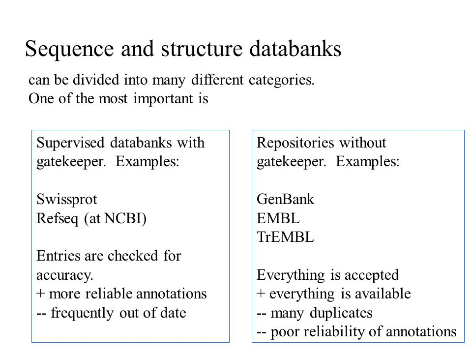 Sequence and structure databanks can be divided into many different categories.