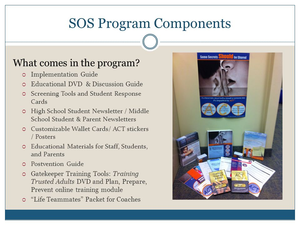 SOS Program Components What comes in the program.