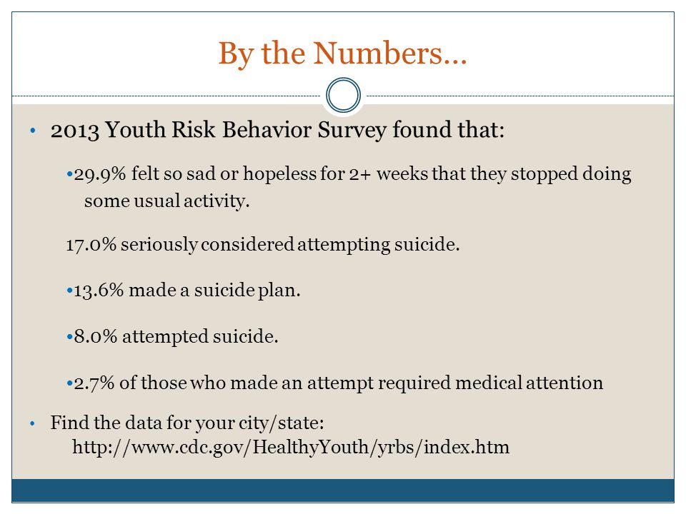 By the Numbers… 2013 Youth Risk Behavior Survey found that: 29.9% felt so sad or hopeless for 2+ weeks that they stopped doing some usual activity.