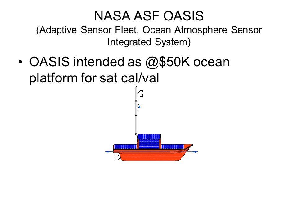 NASA ASF OASIS (Adaptive Sensor Fleet, Ocean Atmosphere Sensor Integrated System) OASIS intended as @$50K ocean platform for sat cal/val