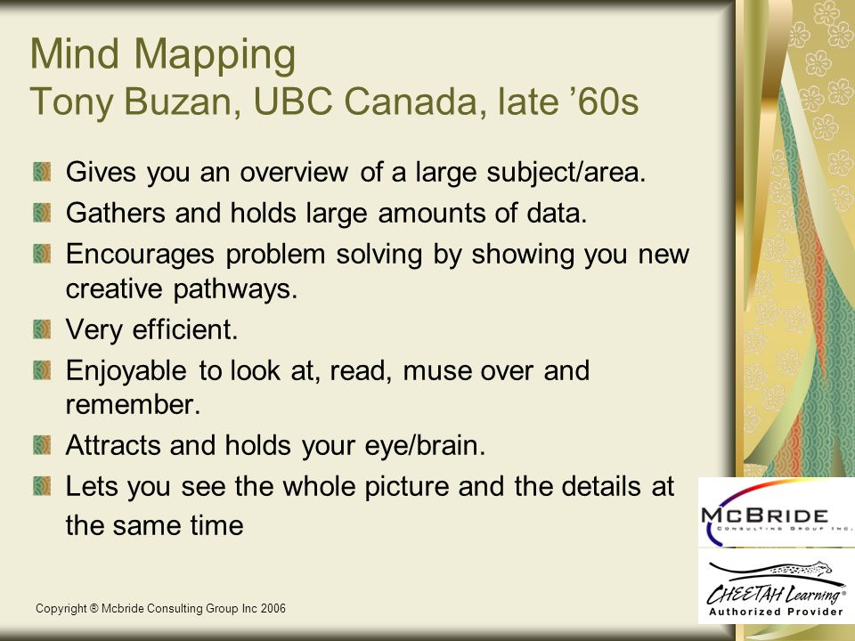 Mind Mapping Tony Buzan, UBC Canada, late '60s Gives you an overview of a large subject/area.