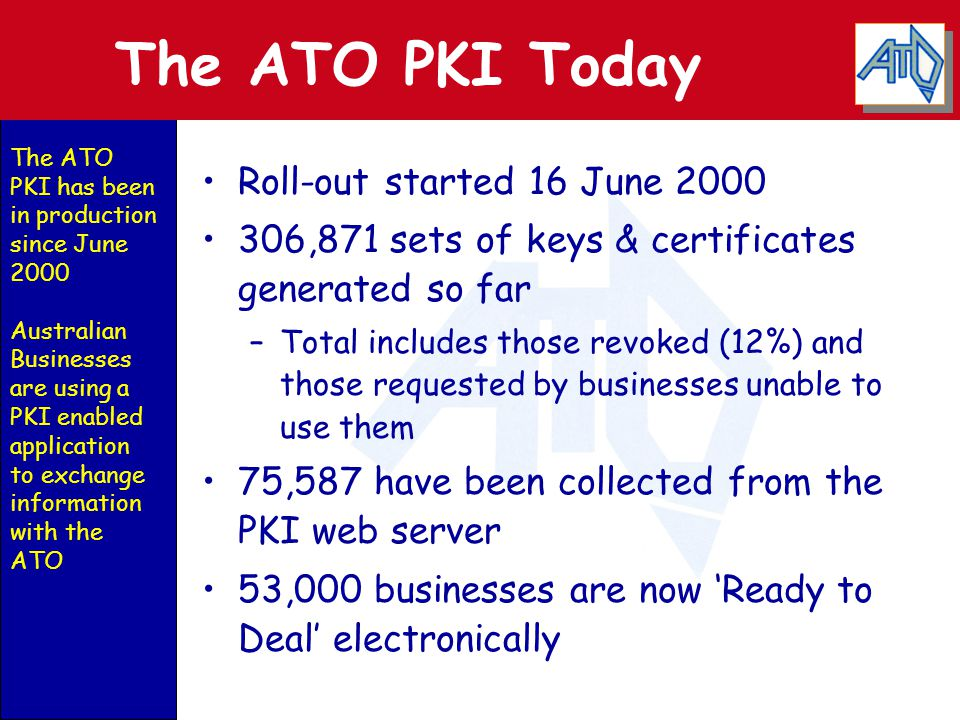 Key Features of the ATO PKI ATO CA operated for ATO by Certificates Australia Pty Ltd CA uses UniCERT technology RA function interfaces with ABR Keys & Certificates distributed via Internet Certificates valid for 2 years End-users get two certificates and key pairs - authentication and confidentiality End-entity keys are 1024 bit RSA, CA keys are 2048 bit RSA Predominantly NT4 platform Baltimore & ATO custom components