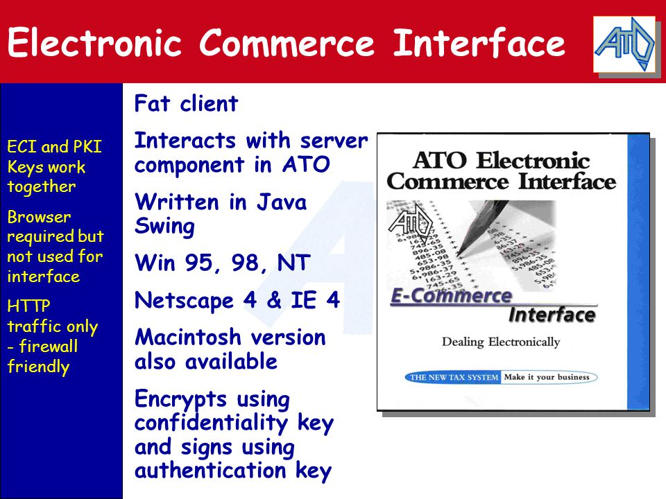 Electronic Commerce Interface Fat client Interacts with server component in ATO Written in Java Swing Win 95, 98, NT Netscape 4 & IE 4 Macintosh version also available Encrypts using confidentiality key and signs using authentication key ECI and PKI Keys work together Browser required but not used for interface HTTP traffic only - firewall friendly