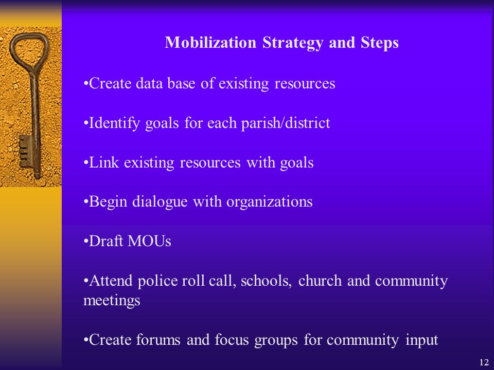 12 Mobilization Strategy and Steps Create data base of existing resources Identify goals for each parish/district Link existing resources with goals Begin dialogue with organizations Draft MOUs Attend police roll call, schools, church and community meetings Create forums and focus groups for community input
